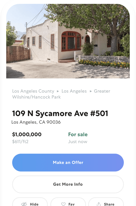 screenshot of mobile property detail page